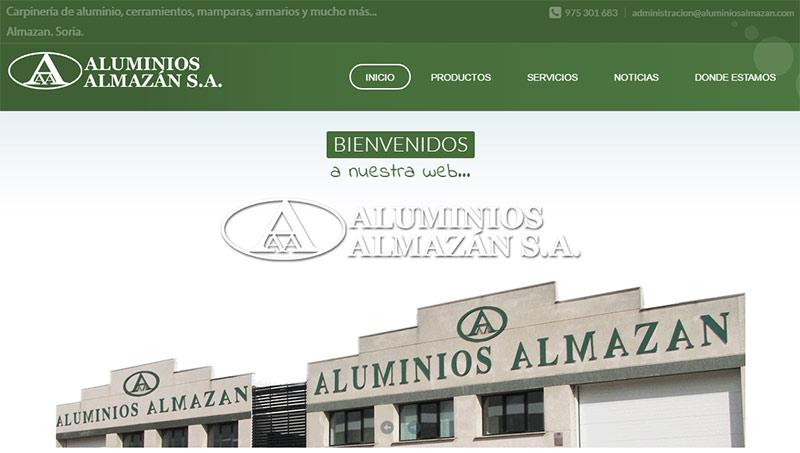Imagen de la página web de Aluminios Almazán
